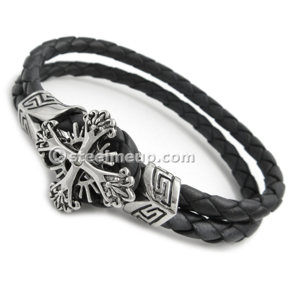 Stainless Steel Cross Knot Black Genuine Leather Bracelet