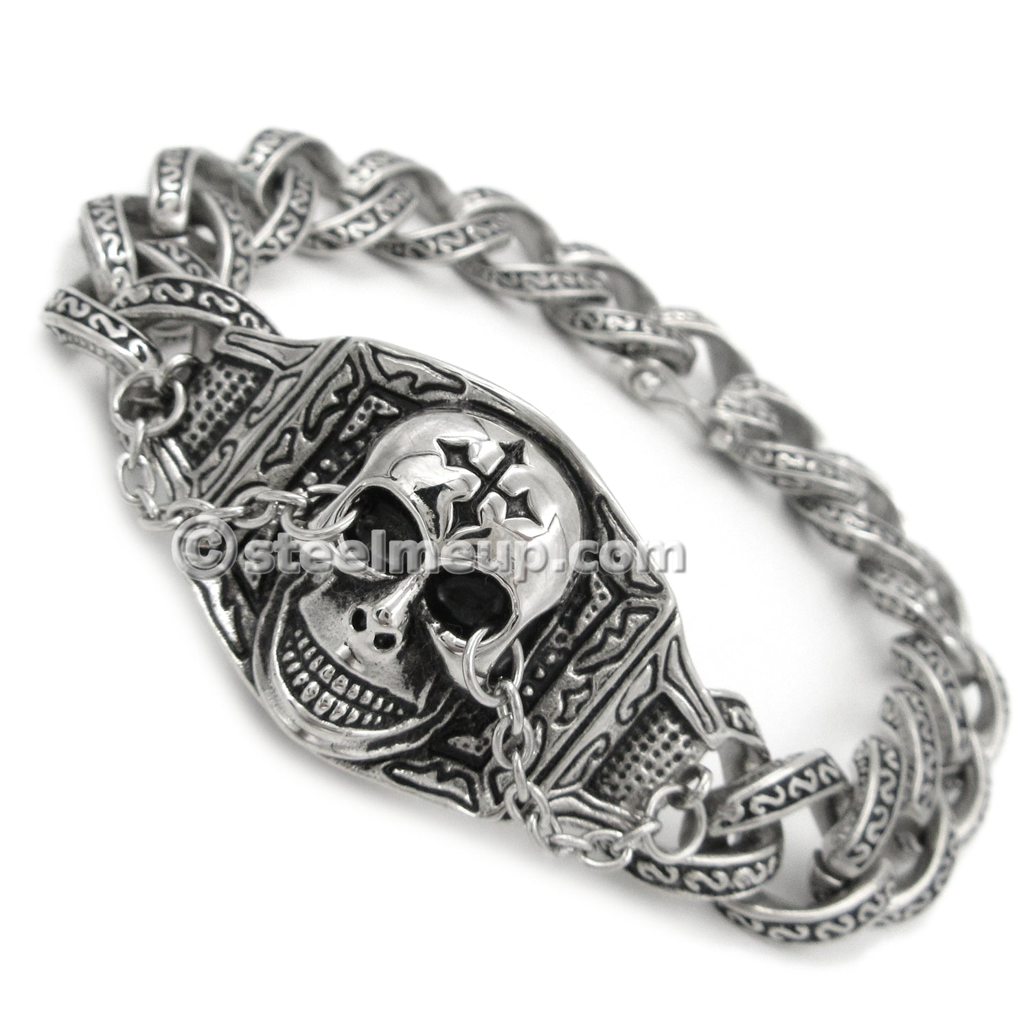 Stainless Steel Skull Face Chain Men Biker Bracelet 8.5""