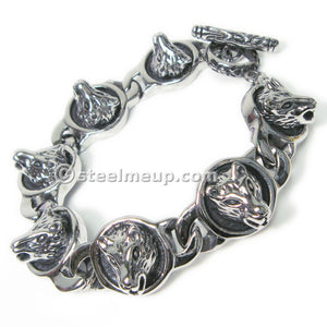 Stainless Steel Wolf Head Daisy Chain Men Biker Bracelet 17mm 8.25""