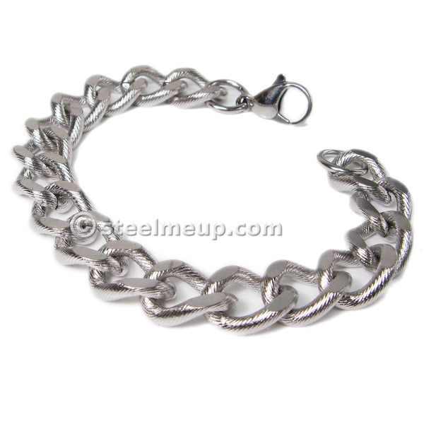 Steelmeup Stainless Steel Minimalistic Simple Curb Chain Men Bracelet 13mm 8.5inch
