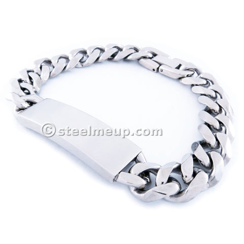 Stainless Steel Faceted Curb Chain Plain ID Bracelet 11mm 8""