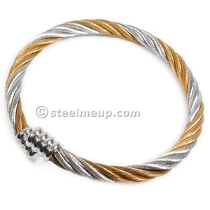 Stainless Steel 2-Tone Cable Wire Elastic Spring Wrist Bangle 5mm