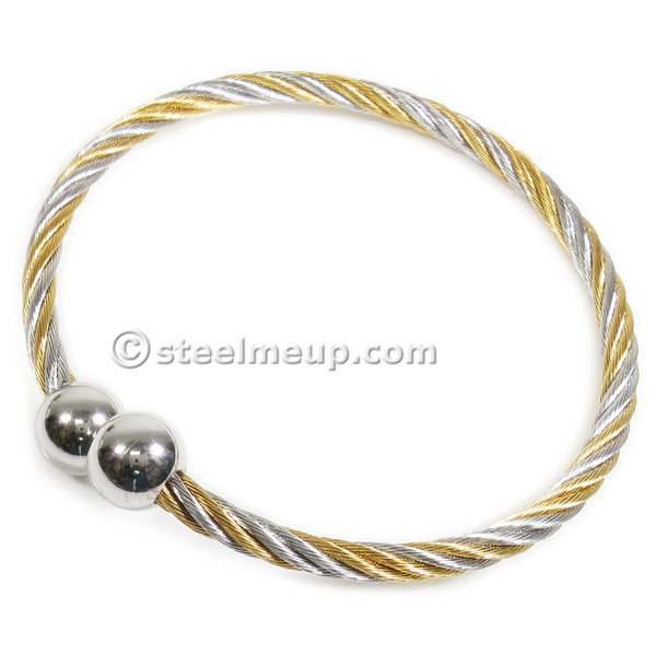 Stainless Steel 2 Tone Cable Wire Elastic Spring Wrist Bangle 4mm