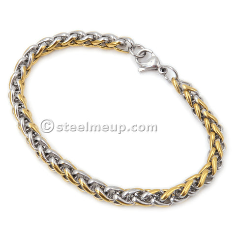 Stainless Steel 2 Tone Silver Gold Color Wheat Chain Link Bracelet 4mm 6mm 7 8 9 inches