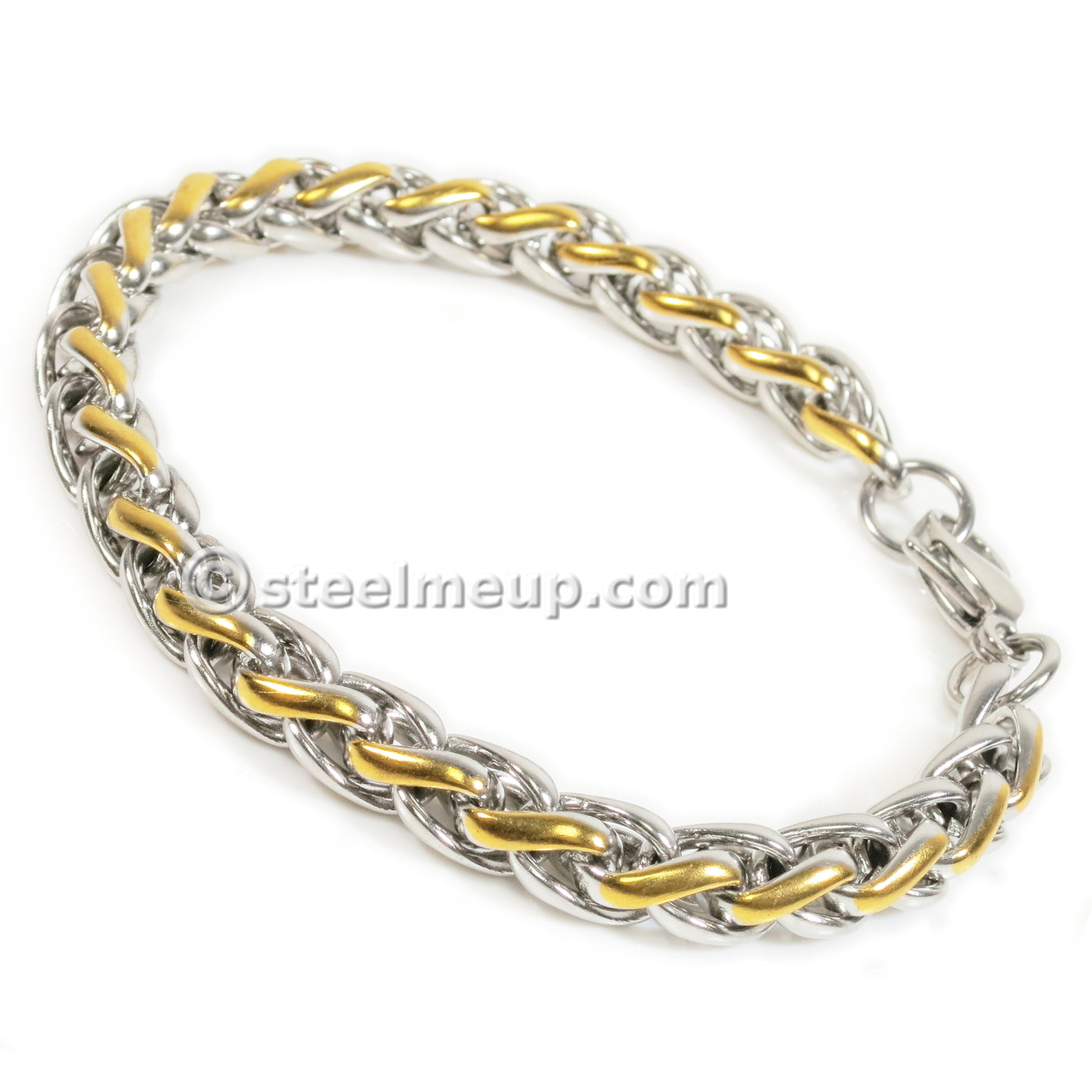 Stainless Steel 2 Tone Silver Gold Wheat Chain Men Bracelet 7mm