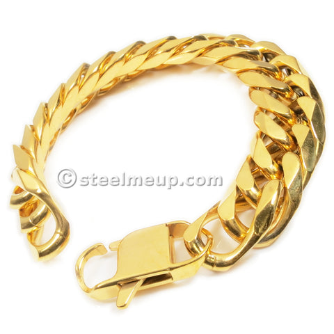 Steelmeup Stainless Steel Gold Color Heavy Curb Link Chain Bracelet for Men 18mm 8.5inch
