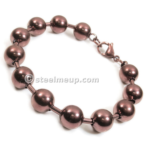 Stainless Steel Brown Hollow Bead Chain Men Bracelet 10mm 7""