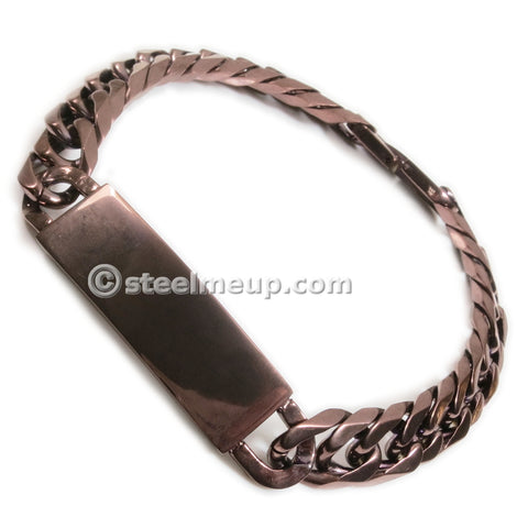 Stainless Steel Brown Faceted Curb Chain Plain ID Bracelet 12mm 8""