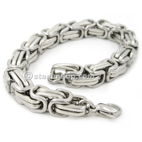 Steelmeup Stainless Steel Square Byzantine Chain Men Bracelet Gold Silver Color 9mm 8inch