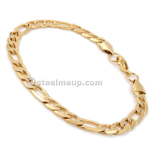 Steelmeup Stainless Steel Faceted Figaro Chain Bracelet for Women Gold / Rose Gold 6mm 7inch