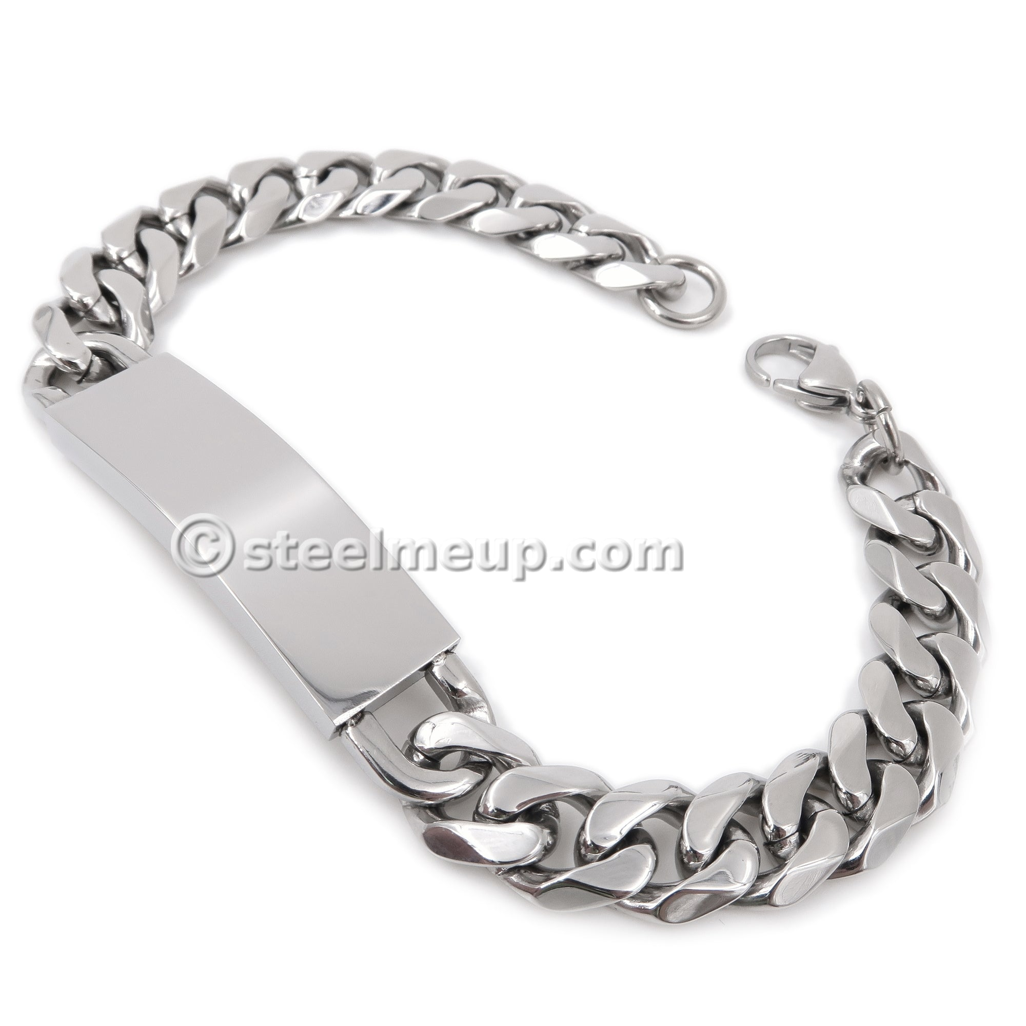 Steelmeup Stainless Steel Faceted Curb Link Chain Plain ID Bracelet for Men 11mm 8inch