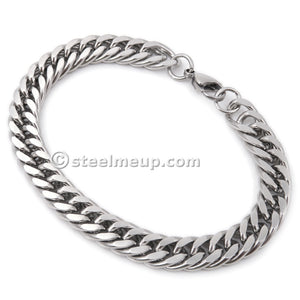 Steelmeup Stainless Steel Faceted Tight Link Curb Chain Bracelet for Men 7mm 9mm 7 8 9inch