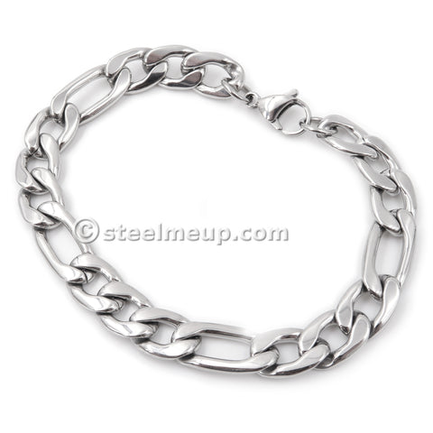 Steelmeup Stainless Steel Simple Classic Figaro Link Chain Bracelet For Men 6 7 10mm 7 8 9-inch