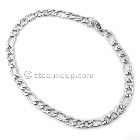 Steelmeup Stainless Steel Simple Classic Figaro Link Chain Bracelet For Women 4 5mm 7 8-inch