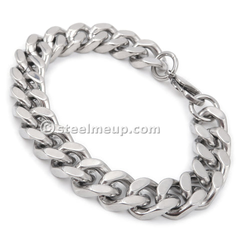 Steelmeup Stainless Steel Simple Curb Cuban Link Chain Bracelet For Men Boys 6mm 8mm 10mm 12mm 7inch 8inch 9inch