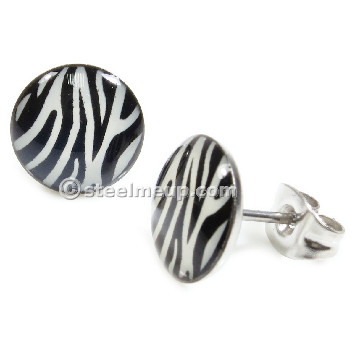 Pair Stainless Steel Round Zebra Mark Post Stud Earrings 9mm