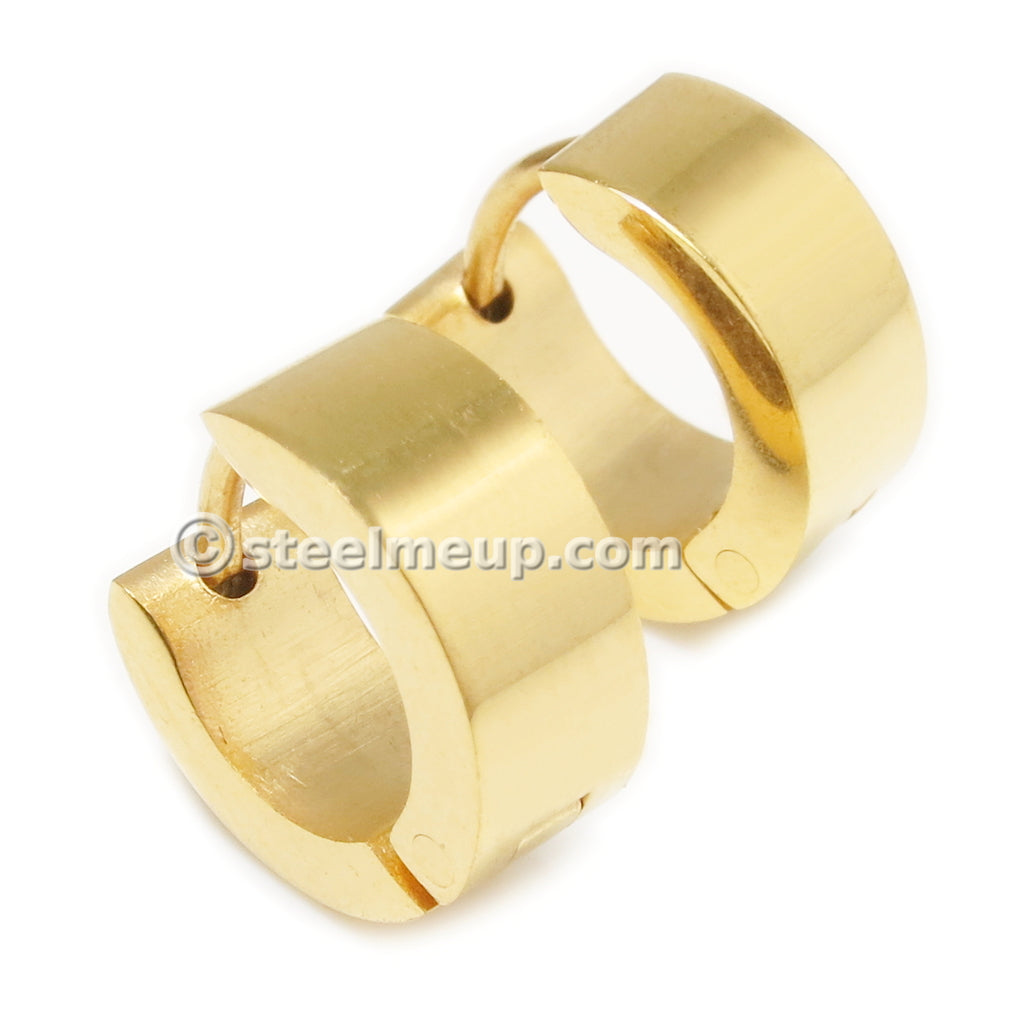 Pair Stainless Steel Small Gold Color Hoop Earrings 4mm
