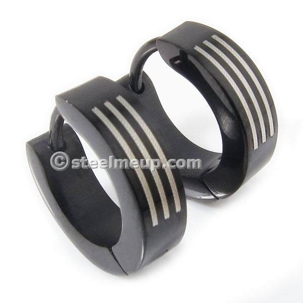 Pair Stainless Steel Black Plated 3 Lines Men Hoop Earrings