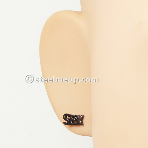 Pair Stainless Steel Black SEX Screw Stud Earrings