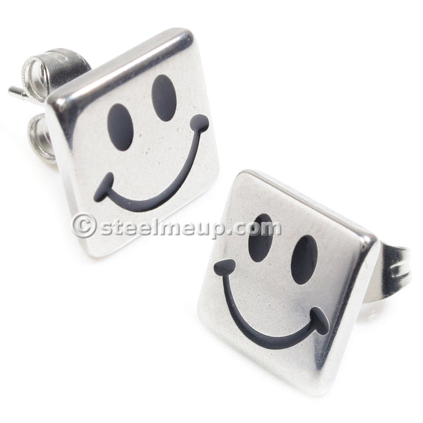 Pair Stainless Steel Silver Square Smile Face Post Stud Earrings