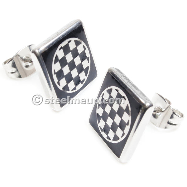 Pair Stainless Steel Square Round Checker Boxes Post Stud Earrings