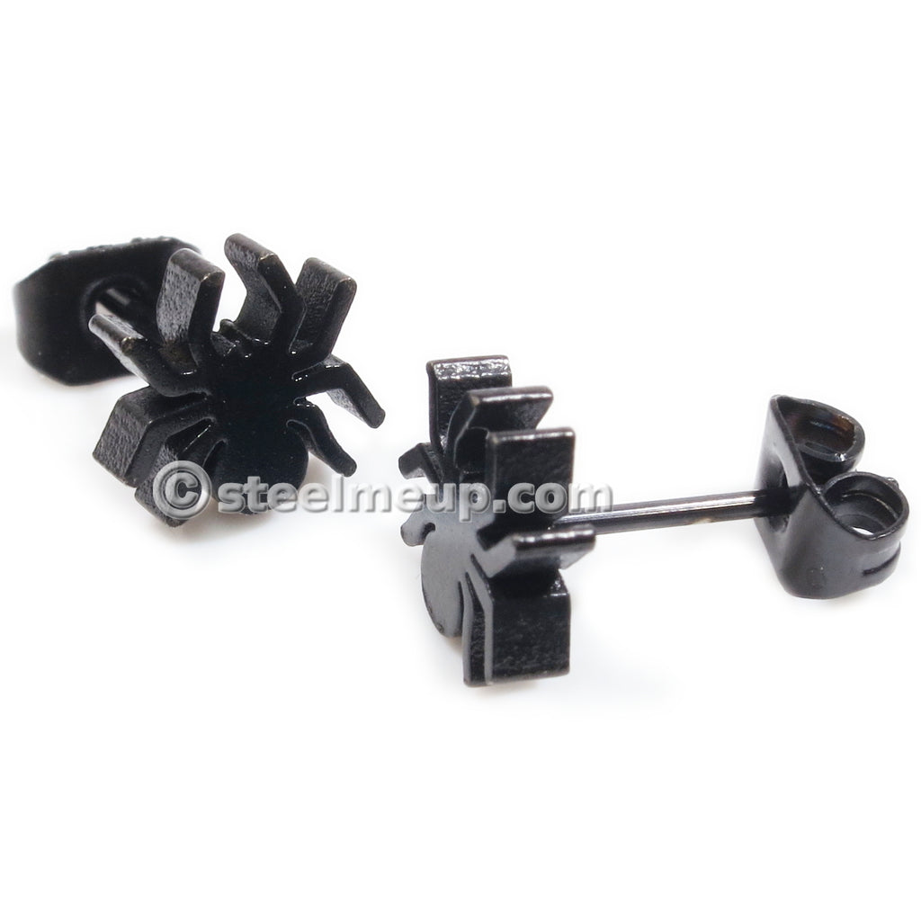 Pair Stainless Steel Black Spider Post Stud Earrings