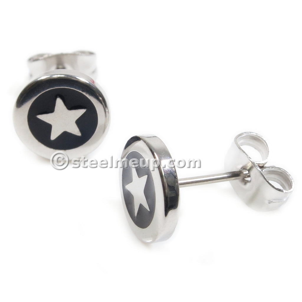 Pair Stainless Steel Star Post Stud Earrings 8mm