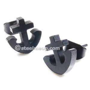 Pair Stainless Steel Black Ship Anchor Post Stud Earrings