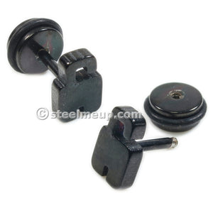 Pair Stainless Steel Black Padlock Screw Stud Earrings