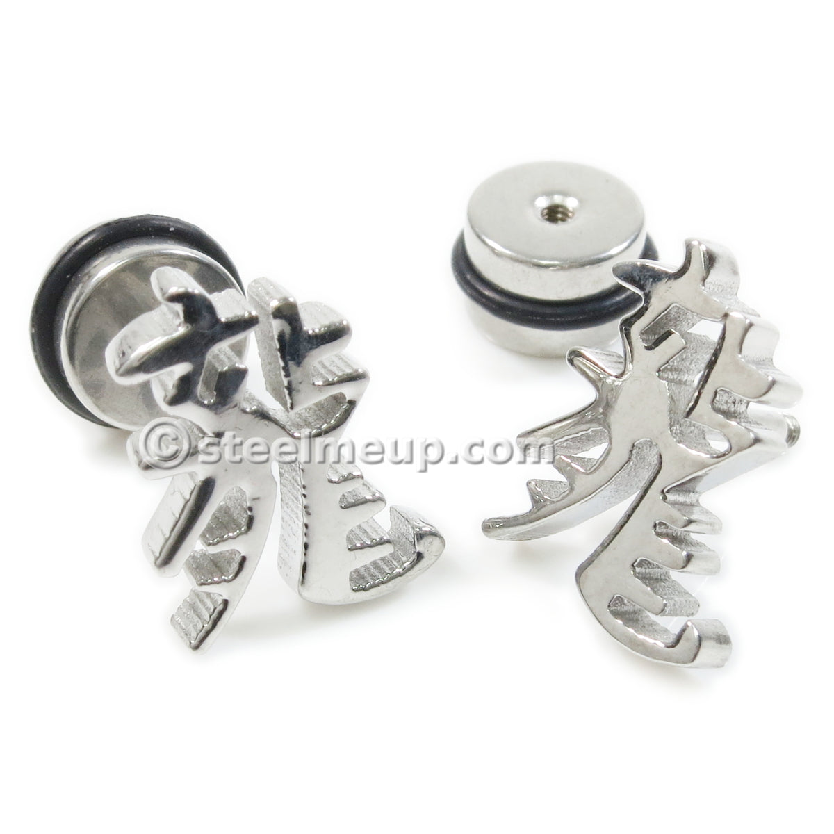 "Pair Stainless Steel Chinese Word ""Dragon"" Screw Stud Earrings"