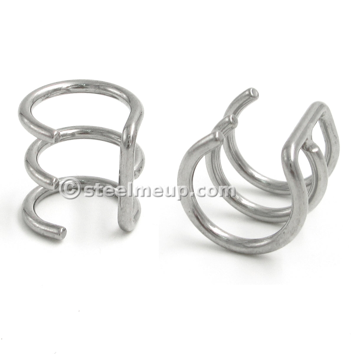 Pair Stainless Steel 3-Hoop Non Piercing Ear Cuff Conch Earrings