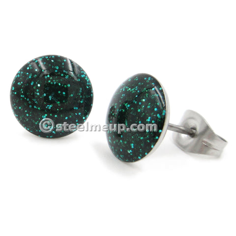 Pair Stainless Steel Round Green Glitters Post Stud Earrings 10mm