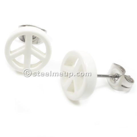Pair White Acrylic Peace Sign Stainless Steel Post Stud Earrings 10mm