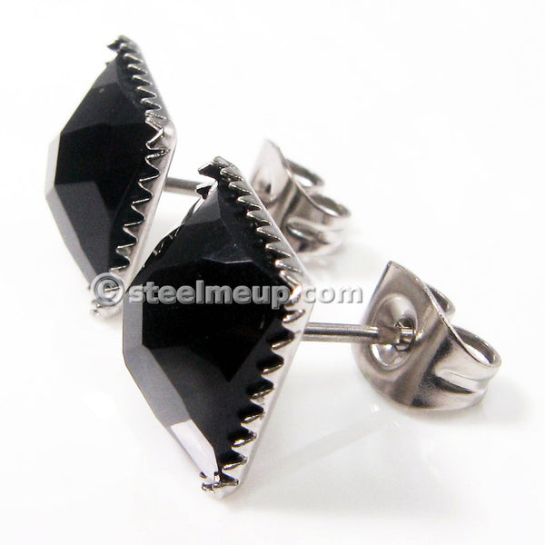 Pair Stainless Steel Black Square Cubic Zirconia Men Stud Earrings 9mm
