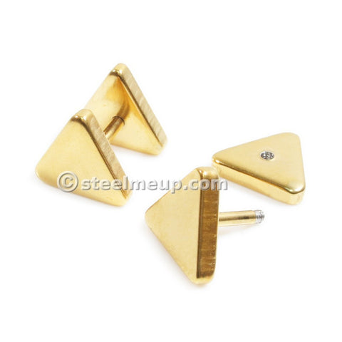 Pair Stainless Steel Gold Color Triangle Screw Stud Earrings 6mm
