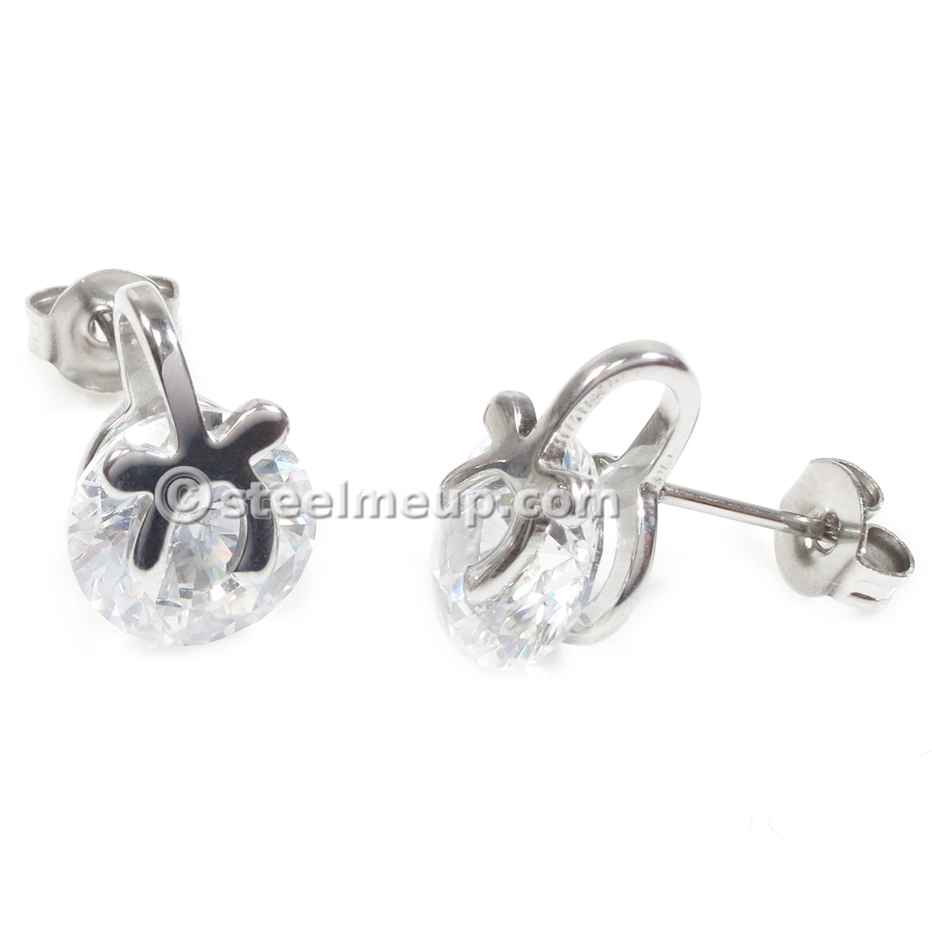 Pair Stainless Steel Silver Ribbon Cubic Zirconia Post Stud Earrings 8mm