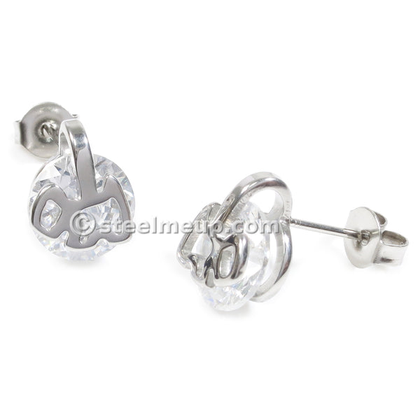 Pair Stainless Steel Silver Dog Cubic Zirconia Post Stud Earrings 8mm