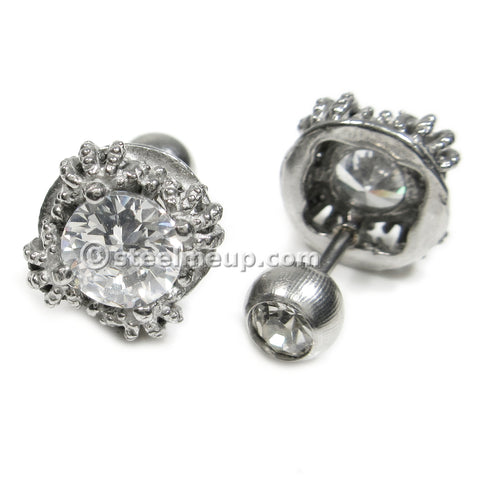 Stainless Steel Silver Color Crown Clear Cubic Zirconia Screw Stud Earrings