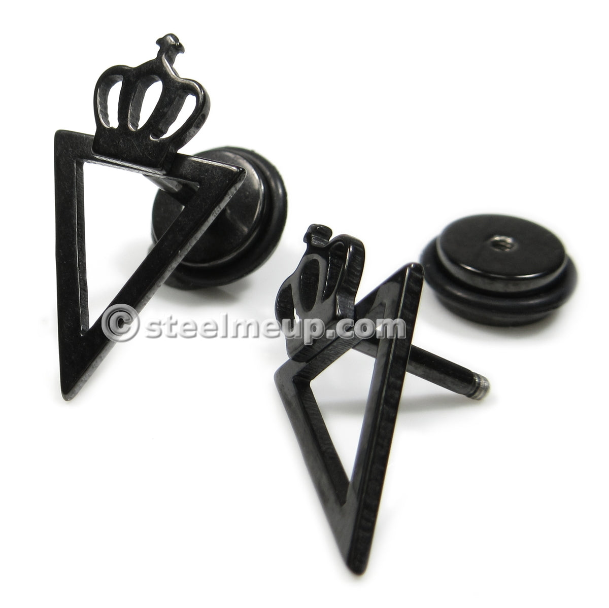 Pair Stainless Steel Black Triangle Crown Screw Stud Earrings