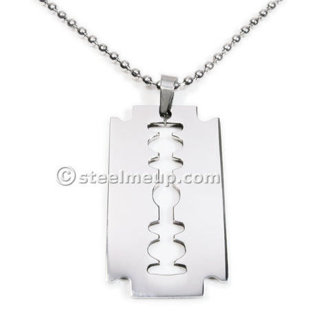 Stainless Steel Razor Blade Pendant Men Necklace 40mm