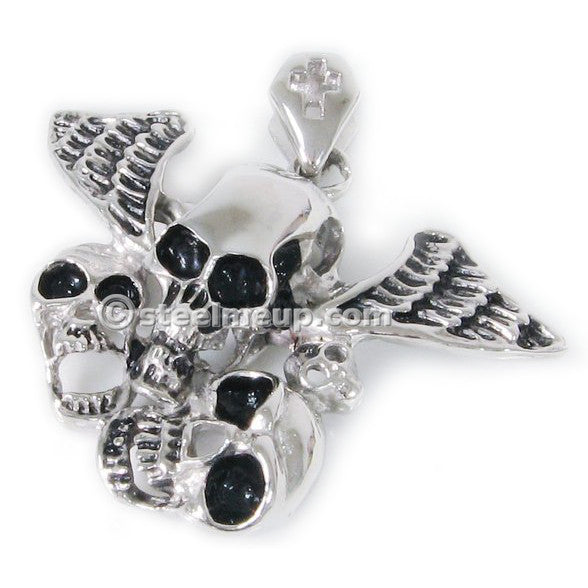 Stainless Steel Wing Skulls Men Biker Pendant Necklace
