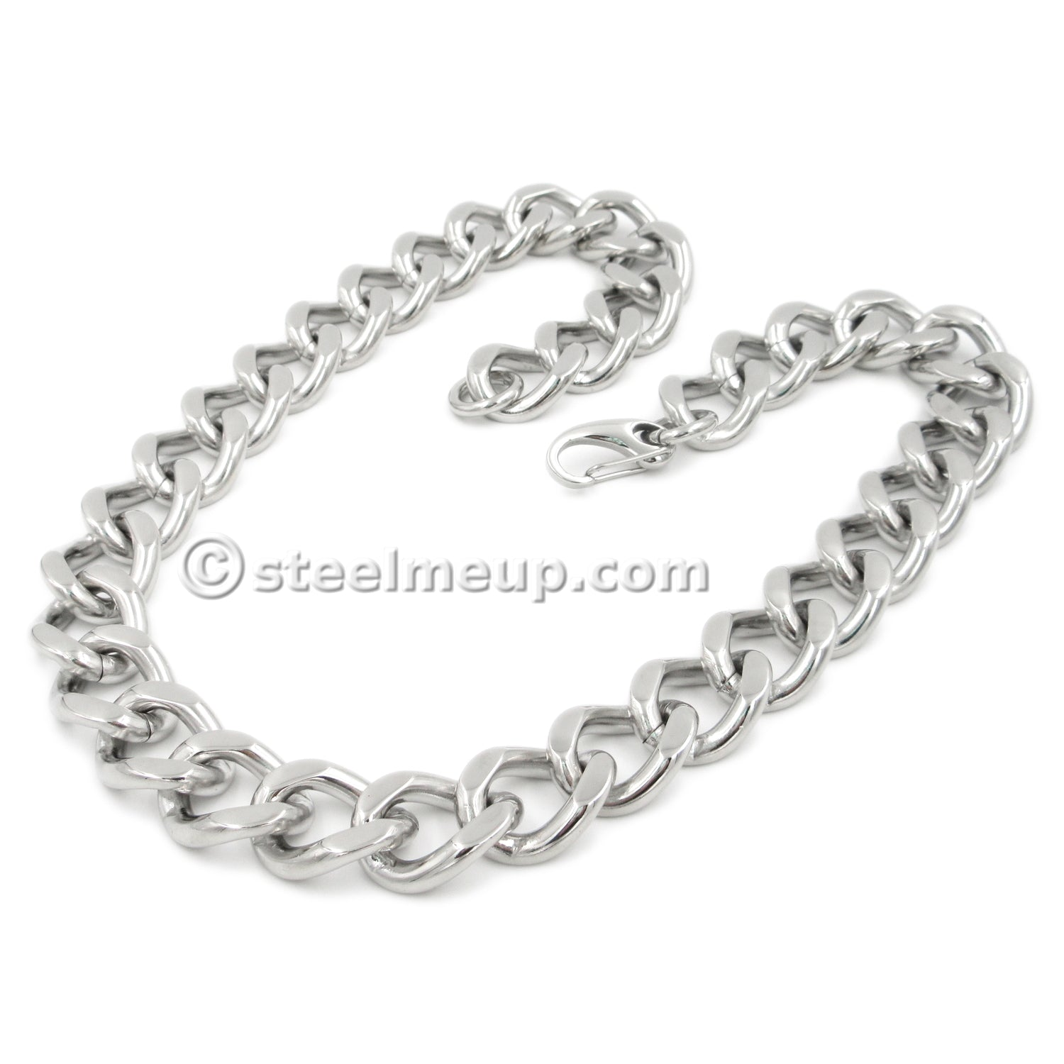 Stainless Steel Wide Heavy Curb Chain Men Necklace 21mm 23.5""