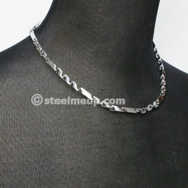 Stainless Steel Solid Square Tube Chain Men Necklace 5mm 21""
