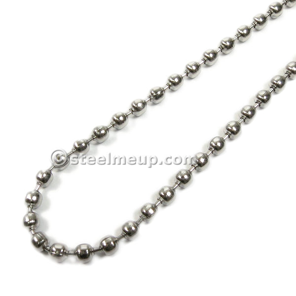 Stainless Steel Simple Hollow Bead Chain Necklace 2.4mm