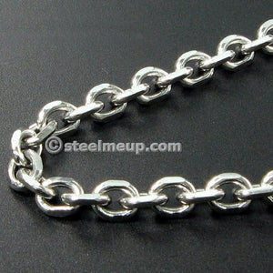 Stainless Steel Faceted Cable Chain Men Necklace