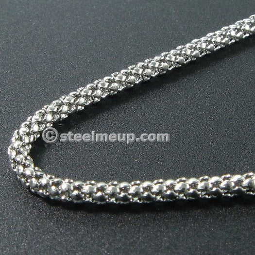 Stainless Steel Thin Popcorn Chain Necklace 2mm 23.5""