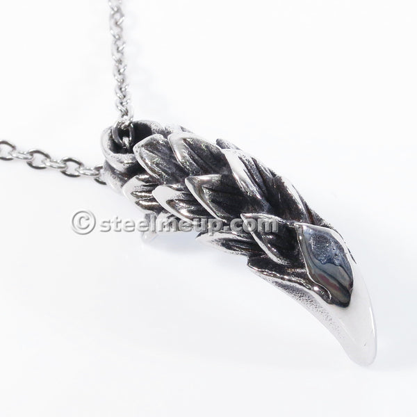 Stainless Steel Silver Dragon Claw Biker Pendant Necklace