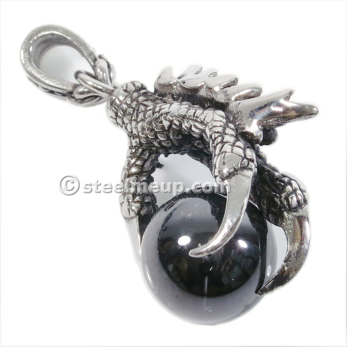 Stainless Steel Silver Dragon Claw Black Cubic Zircon Biker Pendant Necklace