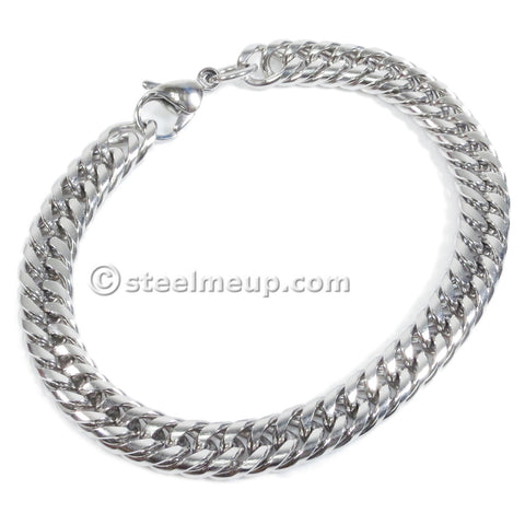Stainless Steel Tight Double Link Curb Chain Bracelet 8mm