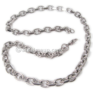 Stainless Steel 2 Faceted Cable Chain Mens Necklace 9.5mm